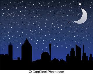 miasto, sylwetka, księżyc, niebo, ilustracja, wektor, gwiazdy, noc