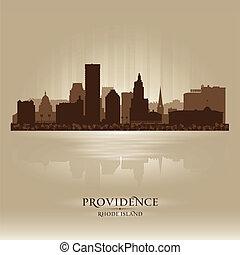 miasto, sylwetka, wyspa, rhode, sylwetka na tle nieba, ...