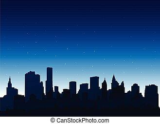 miasto, sylwetka, york, tło, noc, cityscape, nowy