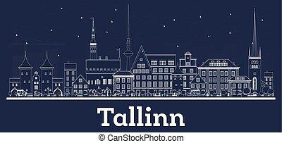 miasto, szkic, estonia, sylwetka na tle nieba, tallinn,...