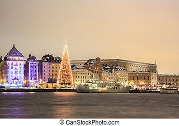 miasto, sztokholm, noc