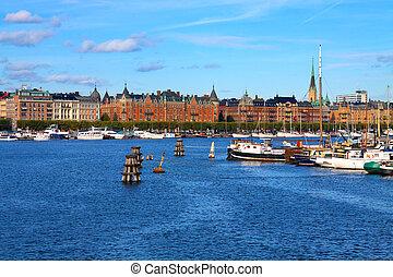 miasto, sztokholm, stary, szwecja