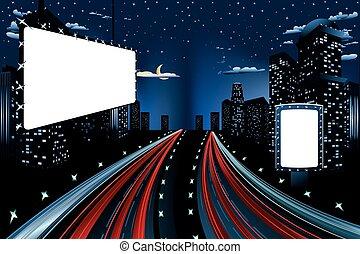 miasto, tablice ogłoszeń, noc