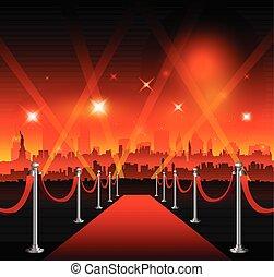 miasto, teatr, film, nowy-york, czerwony dywan