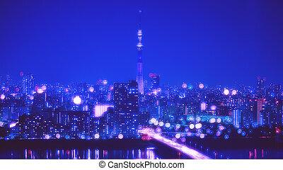 miasto, tokio, noc, światła, bokeh, tło, plama