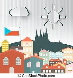 miasto, town., czeski, praga, ilustracja, republic., wektor, kapitał, abstrakcyjny