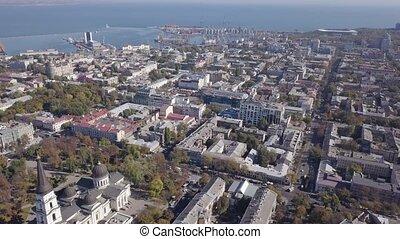 miasto, truteń, część, antena, seaport., prospekt, ...