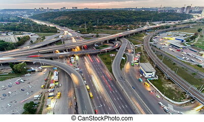 miasto, uhd, antena, timelapse, autostrada, handel, noc, ...