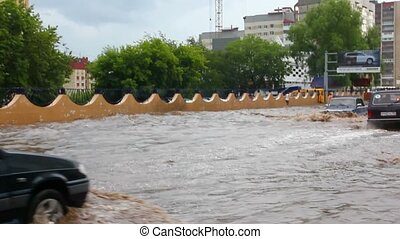 miasto, ulewny, streets?after, deszcz, flooding?in