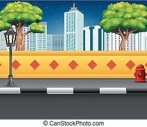 miasto ulica, prospekt, z, na, miejski, tło