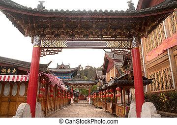 miasto, umiejscawiać, yunnan, historyczny, dziedzictwo,...
