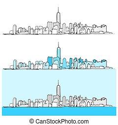 miasto, versions, trzy, sylwetka na tle nieba, york, nowy