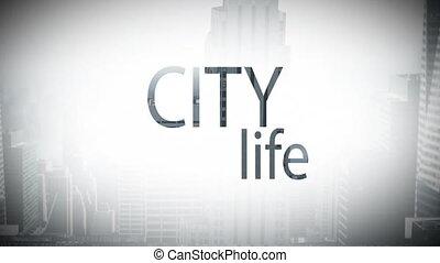 miasto, video, złożony, cyfrowy, życie