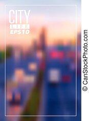 miasto, wektor, blurry tło