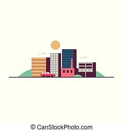 miasto, wektor, ilustracja