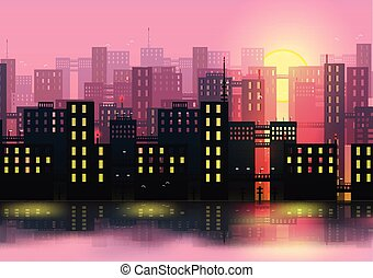 miasto, wektor, -, profile na tle nieba, ilustracja
