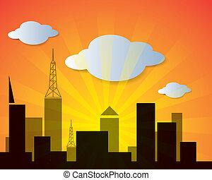 miasto, wektor, zachód słońca, chmura