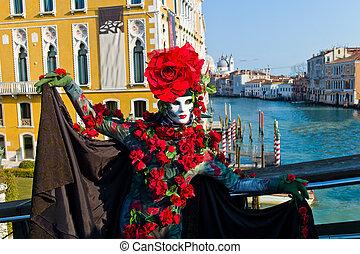 miasto, wenecja karnawał, italy., maski, wenecjanin,...