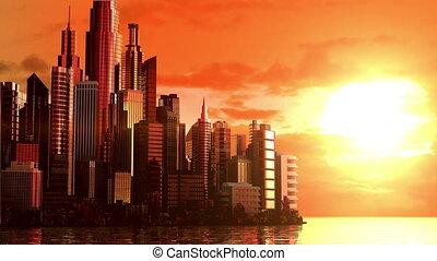 miasto, wschód słońca