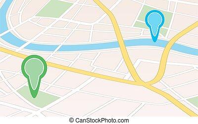 miasto, wskazówki, rzeka, mapa