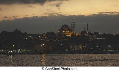 miasto, złoty, suleymaniye, stary, istambuł, sky., na, 2160p...