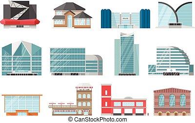 miasto, zabudowanie, komplet, ikona