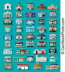 miasto, zabudowanie, komplet, sklepy, płaski