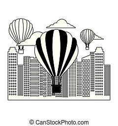 miasto, zabudowanie, miejski, powietrze, gorący, balony