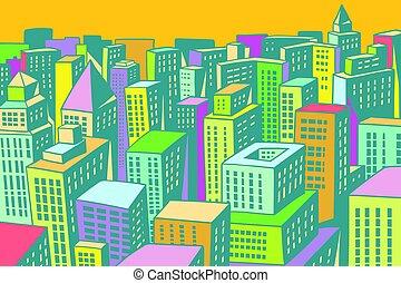 miasto, zabudowanie, nowoczesny, tło, barwny