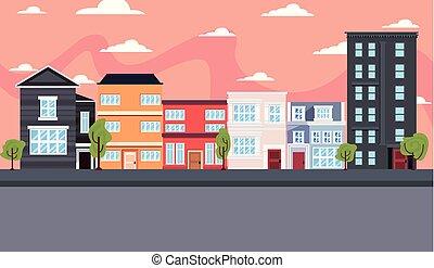 miasto, zabudowanie, ulica, miejski