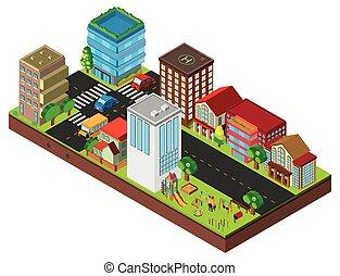 miasto, zabudowanie, ulica, projektować, 3d
