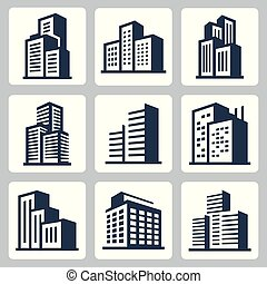 miasto, zabudowanie, wektor, komplet, ikona