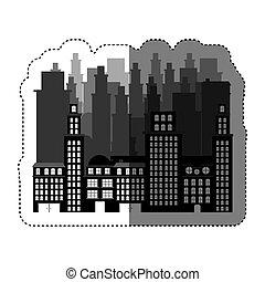 miasto, zabudowanie, wizerunek, ikona