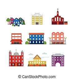 miasto, zabudowanie, zbiór, miejski