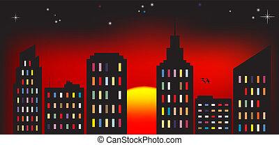 miasto, zachód słońca, barwny