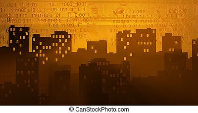 miasto, zachód słońca, faktyczny
