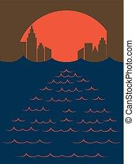 miasto, zachód słońca, morze