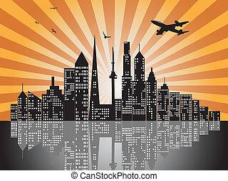 miasto, zachód słońca, profile na tle nieba