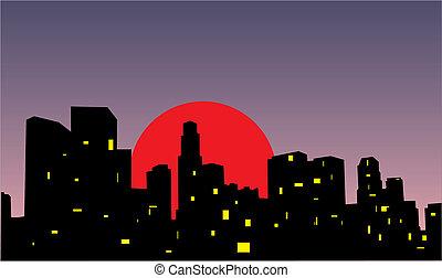 miasto, zachód słońca