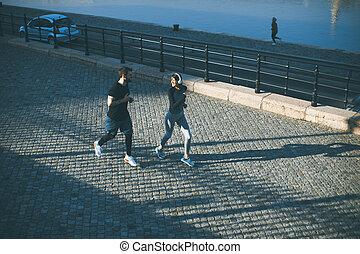 miasto, zdrowy, wyścigi, tło, cityscape, biegacze