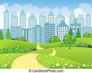 miasto, zielony krajobraz, droga