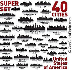 miasto, zjednoczony, niewiarygodny, set., sylwetka na tle...