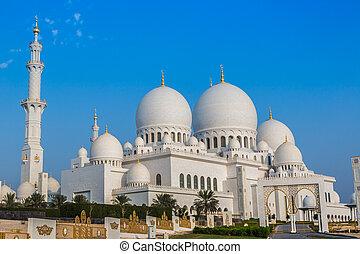 miasto, zjednoczony, zayed, kapitał, meczet, arab, emiraty, ...