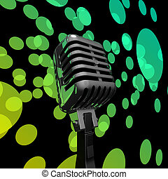 Mic And Lights Showing Microphone Concert Entertainment Or Music Show