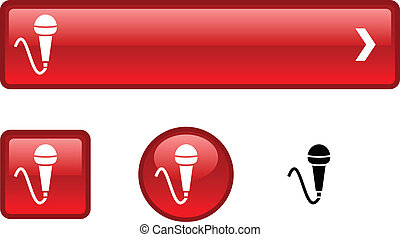 mic, bouton, set.