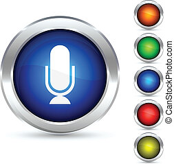Mic button. - .Mic detailed button. Vector illustration.