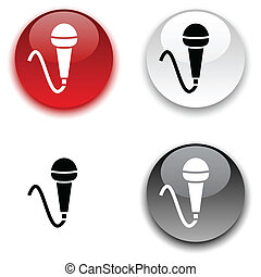 Mic button. - Mic glossy round vector buttons.