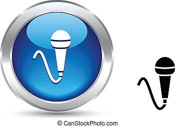 Mic button. - Mic realistic button. Vector illustration.