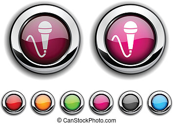 Mic button. - Mic realistic buttons. Vector illustration.