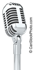 Mic. - Classic Microphone on a stand. Isolated.